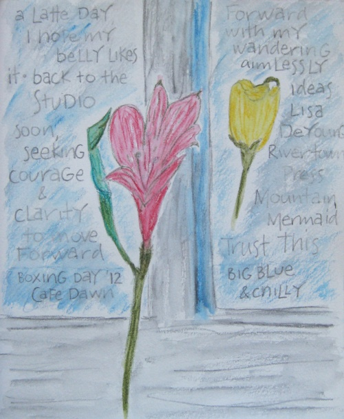 Flowers at Cafe Dawn - created with wash  pencils